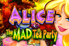 logo alice and the mad tea party wms kolikkopeli